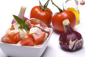 Cheese and tomato salad — Stock Photo