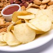 Stock Photo: Potato chips and salty snacks