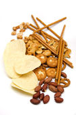 Peanuts and salty snacks — Stock Photo
