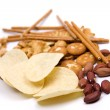 Potato chips and salty snacks isolated — Stock Photo