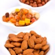 Almonds and other healthy snacks — Stok fotoğraf
