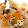 Fruit muesli in a spoon — Stock Photo