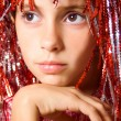 Young girl with carnival wig — Stock Photo