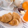 Stock Photo: Fresh croissants for breakfast