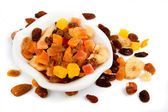 Dried fruit isolated on white — Stockfoto