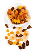 Dried fruit isolated on white — Stock Photo
