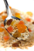 Fruit muesli in a spoon — Stock Photo