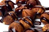 Lískové oříšky s čokoládovou polevou — Stock fotografie
