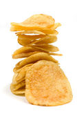 Potato chips isolated on white — Stock Photo