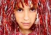 Krásný yong dívka s karneval paruka — Stock fotografie