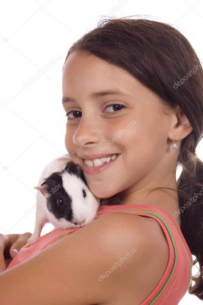Young girl holding guinea pig isolated on white — Stock Photo #1806641