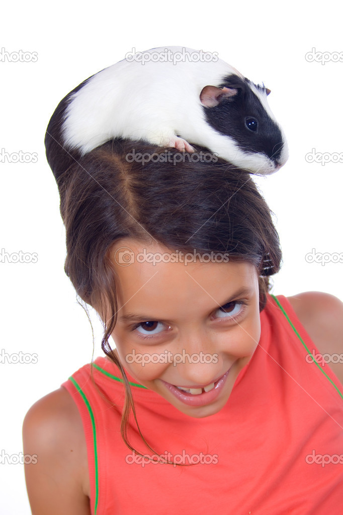 Young girl with guinea pig isolated on white background — Stock Photo #1806889