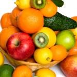 Fruit basket on white background — Stock Photo