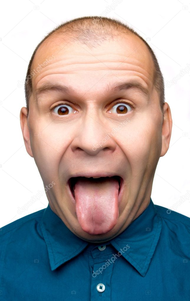 Adult man sticking tongue out isolated on white background  Stock Photo #1819990