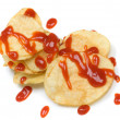 Potato chips with ketchup isolated on wh — Stock Photo