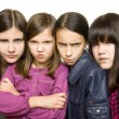 Four serious girl — Stock Photo