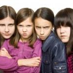 Four serious girl — Stock Photo