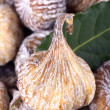Dried figs and bay leafs — Stock Photo