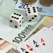 Four aces and euro money — Foto de Stock