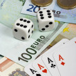 Four aces and euro money — Stock Photo