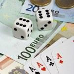 Four aces and euro money — Stock Photo