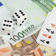 Dices, playing cards and money — Stock Photo