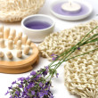 Royalty-Free Stock Photo: Lavender and spa massage set