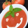 Tomato soup smiley — Stock Photo