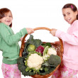 Stock Photo: Young girls with vegetables