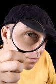 Detective con lente d'ingrandimento — Foto Stock