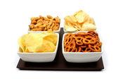 Salty snacks — Stock Photo