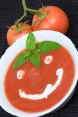 Tomato soup smiley — Stock Photo