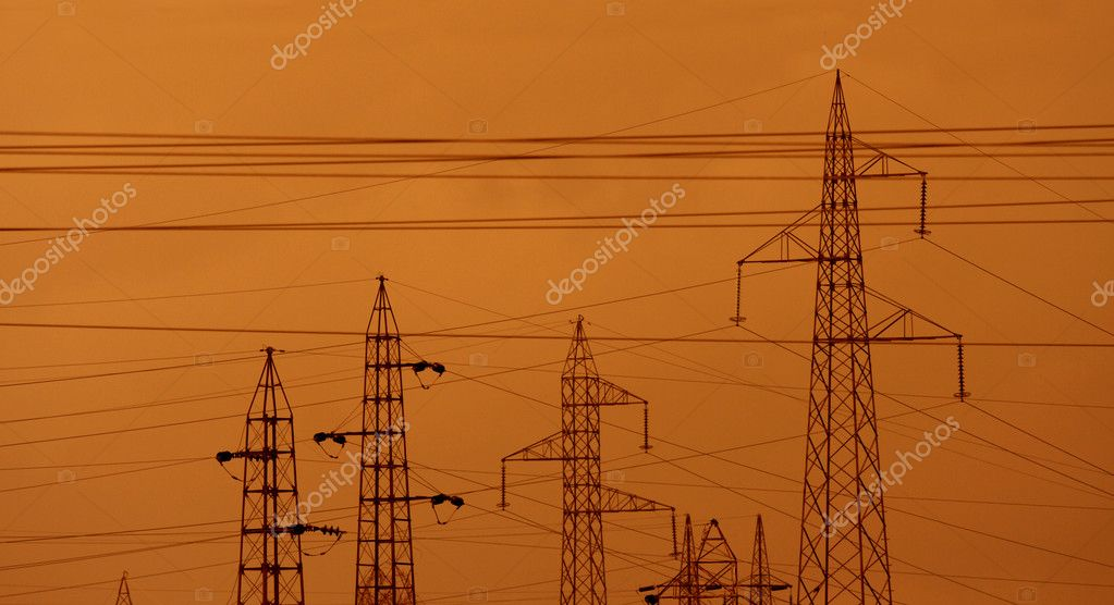 Electric power pylons and wires landscape image — Stock Photo #2066754