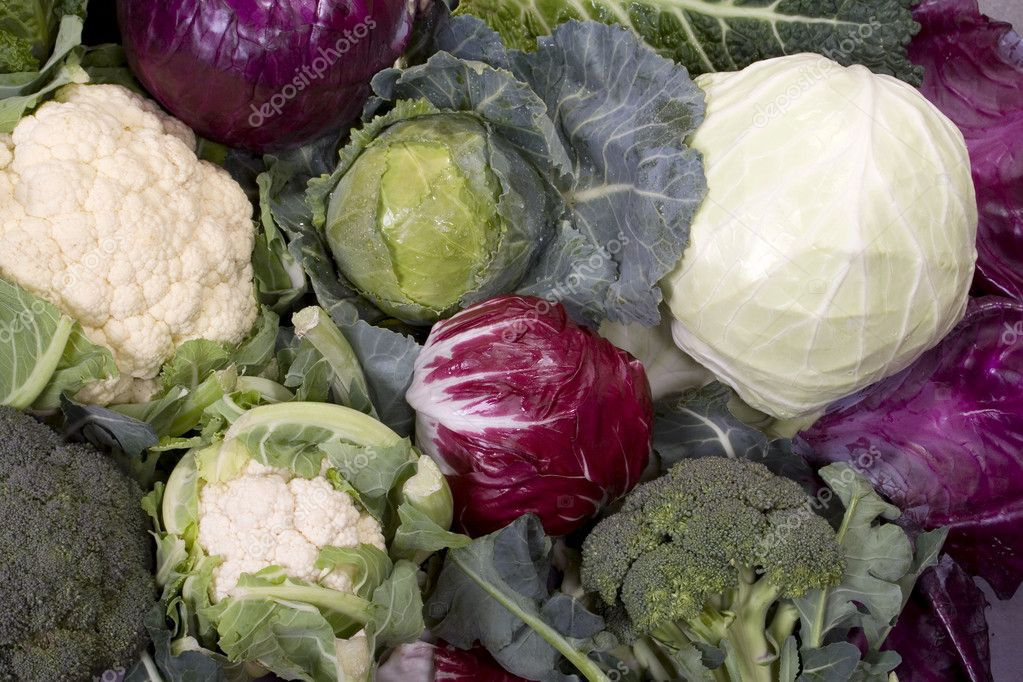 Broccoli, caulifolwer, red and green cabbage assortment — Stock Photo #2067277