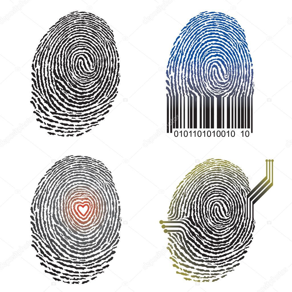 Vector illustration file of four Fingerprint design.  Stock Vector #1731228