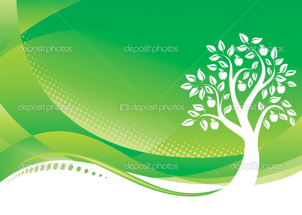 Green Tree background, Vector illustration layered file. — Stock Vector #1800857