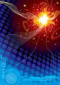 Explosión de tecnología espacial — Vector de stock