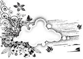 Grunge Flora Composition — Stock Vector
