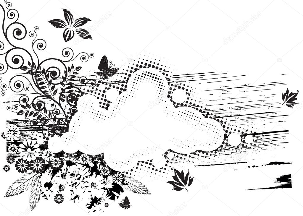 Black and white Grunge Flora composition. vector layered. — Stock Vector #1849869
