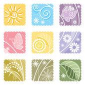 9 つの花ラベル — ストックベクタ