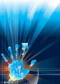 Contacto de seguridad digital — Vector de stock