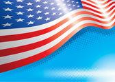 Ons vlag en halftone effecten — Stockvector
