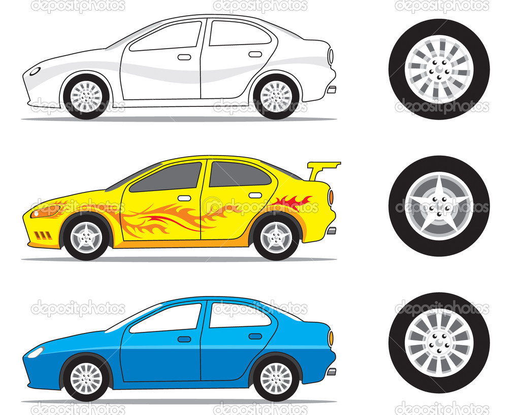 Car and tire graphic, vector illustration.  Stock Vector #2400943