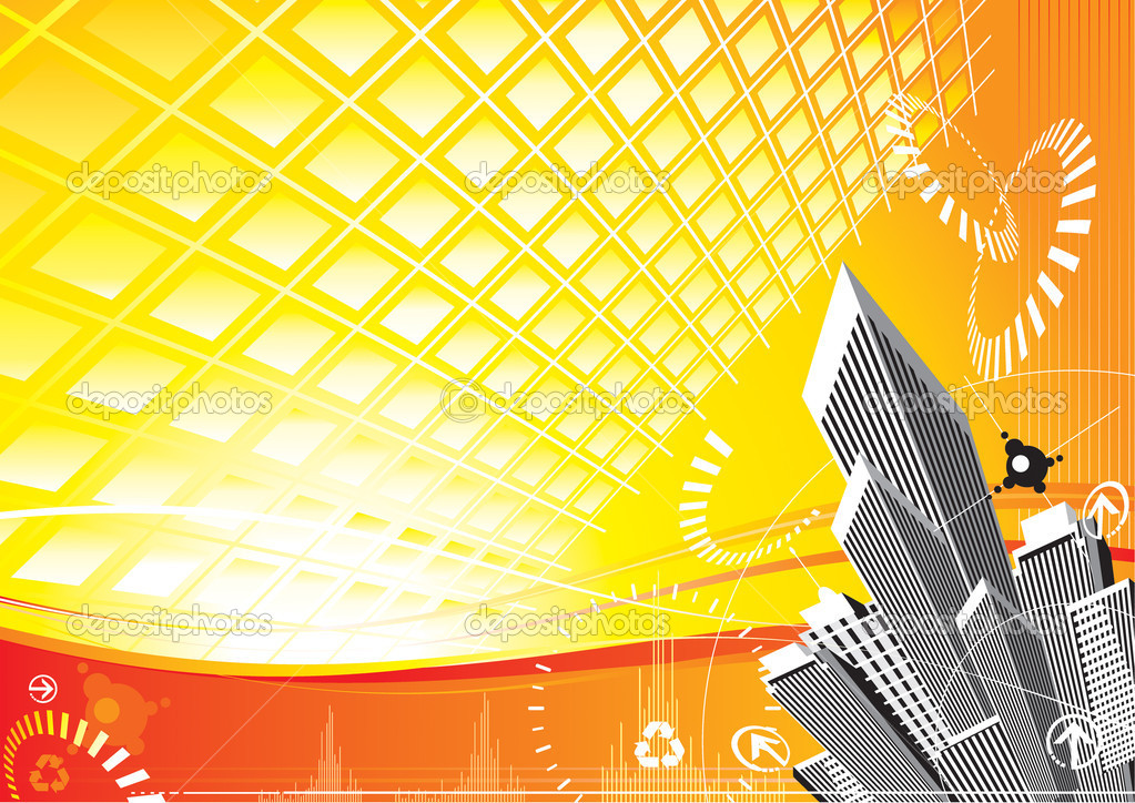 City Solar Power design, vector layered.  Stock Vector #2401014