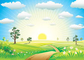 Sunny Meadow — Stock Vector