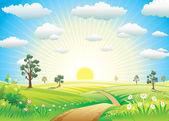 日当たりの良い牧草地 — ストックベクタ