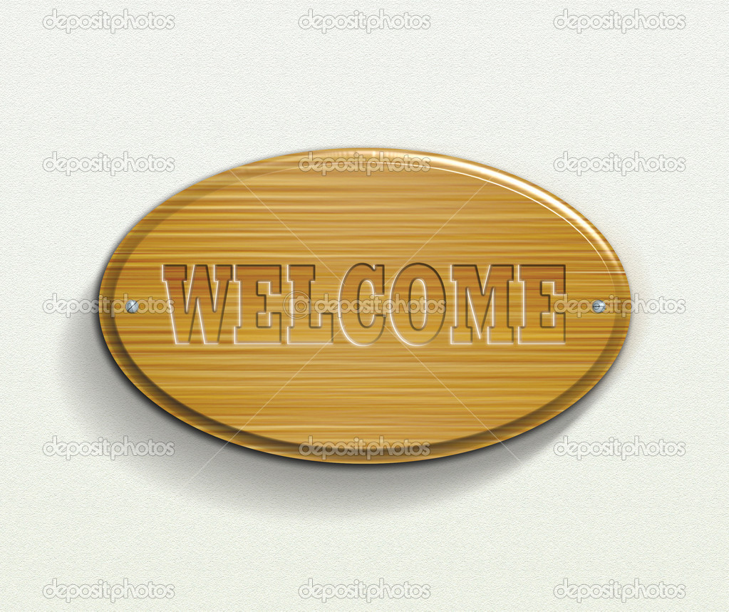 Wooden plate with welcome text illustration.  Stock Photo #2513723