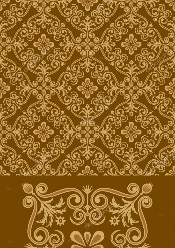 Vector file of brown color antique pattern design. — Stock Vector #2513437