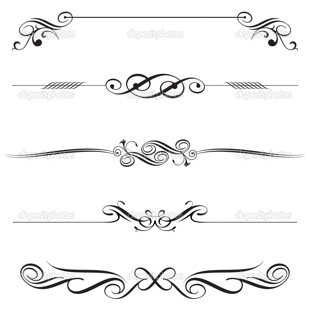 One Line Letter Art : Decorative letters clip art