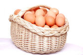Hen's eggs in the basket. — Stock Photo